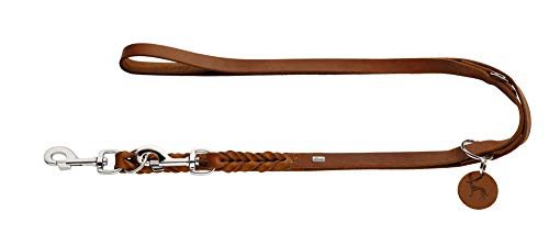 HUNTER SOLID Education Verstellbare Hundeführleine, Leder, geflochten, robust, weich, 1.8 x 200 cm, Cognac