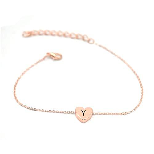 Holy KT Initial Bracelet 14K Rose Gold Plated Stainless Steel Best Friends Letter Link Bracelet Adjustable Initial Bracelets for Women B C Gold Bracelets