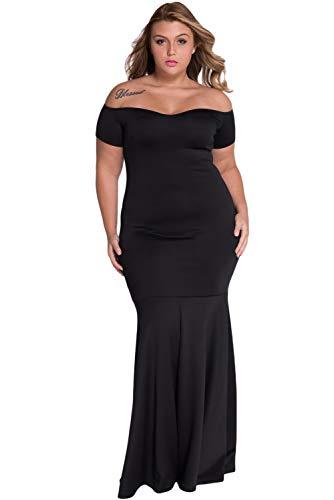 Foryingni Women's Plus Size Off Shoulder Long Formal Dress 3XL Black