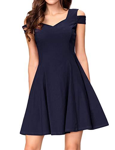 KOJOOIN Damen Vintage 50er Cocktailkleid Abendkleider V-Ausschnitt Ballkleid Ärmelloses Kurzes Sommerkleid Dundelblau 【EU 38-40】/M