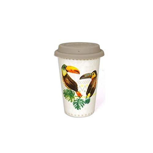 Mug de voyage Toucan - 400 mL - Céramique - Blanc