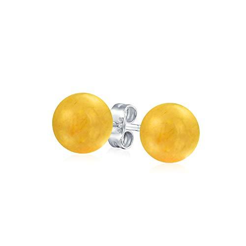 Simple semi precioso piedra preciosa amarillo calcedonia redondo bola pendientes para las mujeres adolescentes 925 plata de ley 8MM