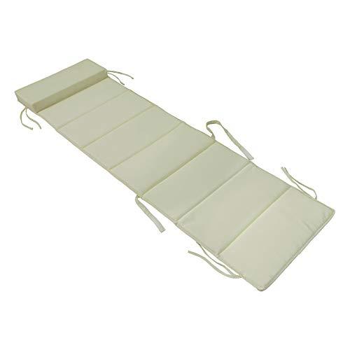 SoBuy® OGS28-P01,Cojín para tumbonas con almohada,170 x 50 cm,color beige,ES