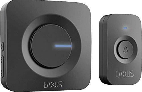 Eaxus® Funk Türklingel - Kabellose Funkklingel, 52 Melodien, LED Anzeige, IP56 Wasserdicht, Schwarz