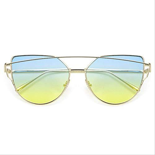 8bayfa Zonnebril Designer Zonnebril Kat Oog Reflecterende Bril Vintage Metalen Bril Voor Vrouwen Retro Zonnebril GoldBlueYellow