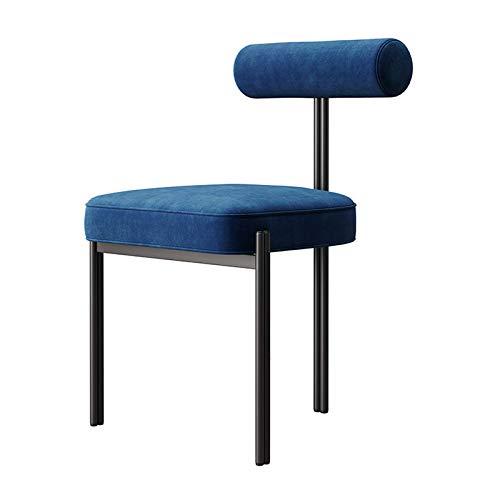 Velvet Esszimmerstühle Modern Accent Kissen Stühle für Wohnzimmer Schlafzimmer Küche Einfachen Rückenlehne Büro Negotiation Make-up-Stuhl mit Black Metal Beinen Blau