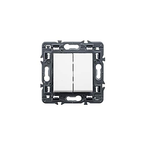 Interruptor Valena Next, doble, unipolar, 10 AX, 230V (Legrand 741244)