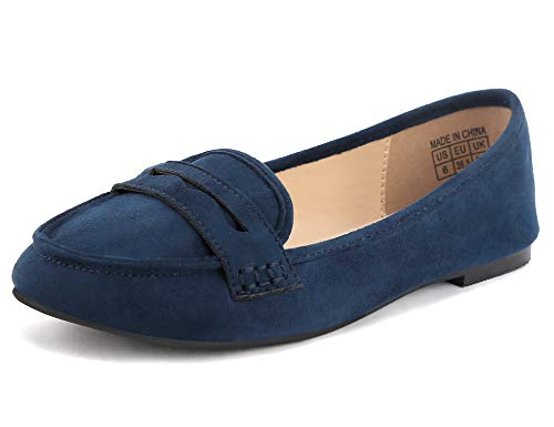 Greatonu Women's Comfort Blue Faux Suede Moccasin Flat Loafer Size EU 36.5