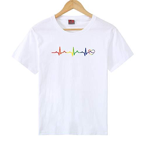 Camiseta de Mujer Creativa ECG Love Color Print Casual Camiseta de Manga Corta Suelta Top Grande