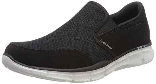 Skechers Men's Equalizer Persistent Slip-On Sneaker, Black/White, 6.5 M US