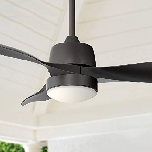 """44"""" Terrazzo Modern Outdoor Ceiling Fan with Light LED Dimmable Remote Control Oil Rubbed Bronze Damp Rated for Patio Porch - Casa Vieja"""