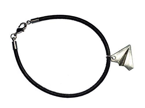 Miniblings Papierflieger Lederarmband schwarz Armband Origami Leder Style silb - Modeschmuck Handmade - Damen Mädchen Bettelarmband