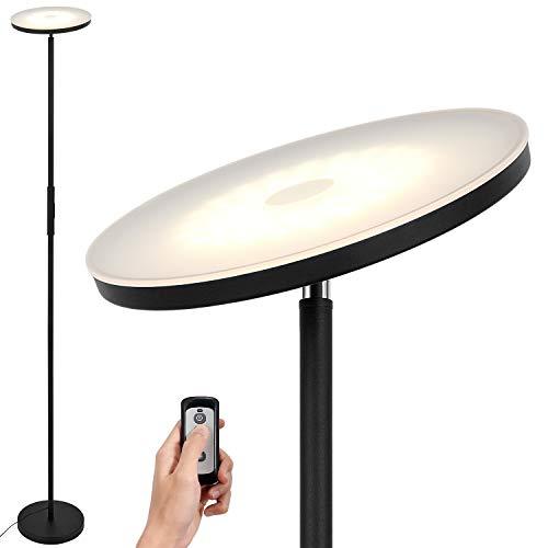 Lámpara LED de pie negro de 20W con mando a distancia, moderna lámpara LED de pie salon regulable con 3 colores de luz (blanco cálido/blanco frío/blanco neutro), perfecto como iluminación de ambiente.