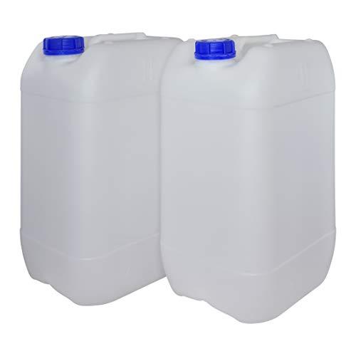 Bidón Garrafa Plástico 25 litros apilable. Apta para uso alimentario. Homologación para transporte. (2 Unidades)