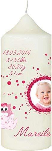 Mein Zwergenland Personnalisé Bougie pour Baptême avec Nom, Date et Photo Motif 1, Chouette dans Oeuf en Rose - Blanc