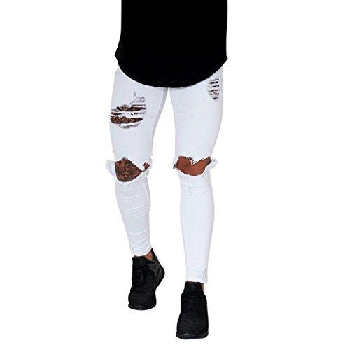 Qmber Jeans Herren Slim fit Schwarze Skinny Destroyed Hose Herren Jeans Destroyed Sommer Hosen Herren Jogger Jeans mit löchern schwarz Stretch - Herren Jeans Zip Streetwear Hosen (S, C)