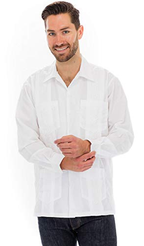 Squish Cuban Style Long Sleeve Guayabera Shirt, White, Large