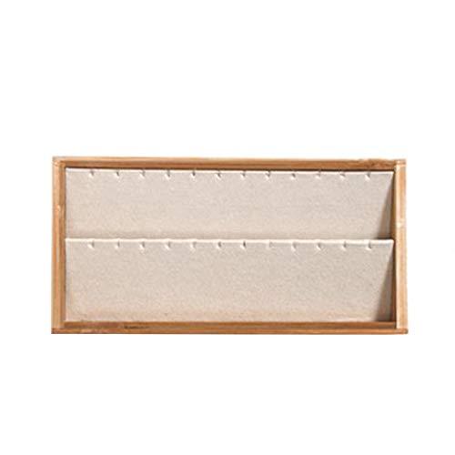 Gesh Caja de almacenamiento para pendientes con aspecto de joyería de bambú y madera