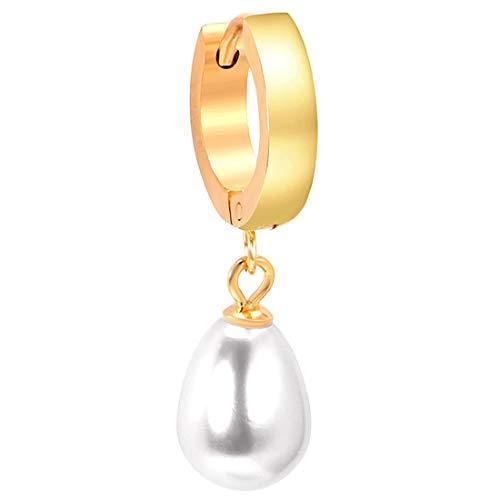 (F) ティアードロップパールフープピアス (カラー)ゴールド レディース リングピアス 1個販売 片耳 真珠 イミテーションパール シンプル チャーム ゆれる スナップ ワンタッチ