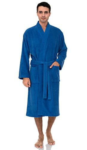 ToalSelections - Albornoz de algodón turco de rizo para hombre, Azul fuerte, Small-Medium