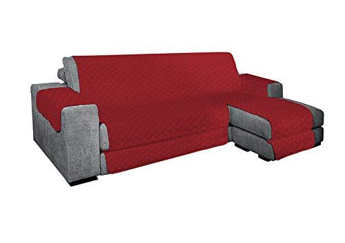 KasaShop Funda de sofá con chaise longue acolchada reversible para chaise longue tanto derecha como izquierda, asiento de 200 cm (rojo, sofá de 2 plazas)