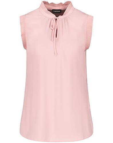Taifun Damen Ärmellose Bluse mit Plissée-Details figurumspielend Flushed Rose 42