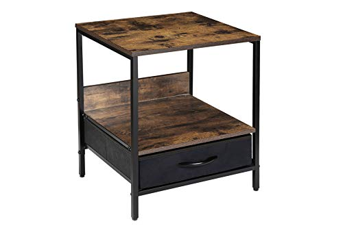 Kamiler Industrial Nightstand with Drawer -End Table,Side Table,Telephone Sofa Table Rustic Furniture Metal Frame for Bedroom/Entryway/Office