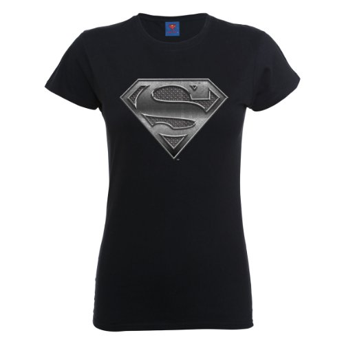DC Comics Official Superman Steel Plate Logo Womens T-Shirt Camiseta, Negro, 36 para Mujer
