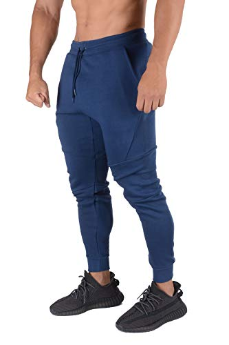 YoungLA Mens Slim Fit Joggers Sweatpants Gym Fitness Training 207 AdBlue XL