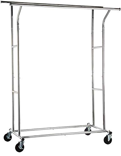 Amazon Basics - Soporte de doble riel para ropa, Cromo