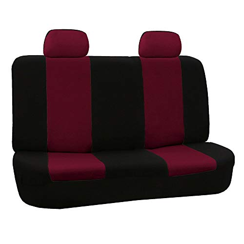 FH Group FB050012 Flat Cloth Seat Covers (Burgundy) Rear Set – Universal Fit for Cars Trucks & SUVs