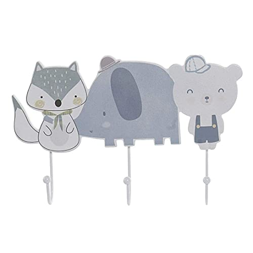 Perchero de pared para habitación infantil, diseño de oso elefante, zorro, 29 x 19 cm.