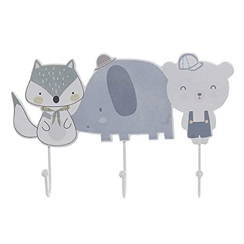 Appendiabiti da parete per cameretta bambini, motivo: orsetto, elefante, volpe, 29 x 4 x 19 cm.