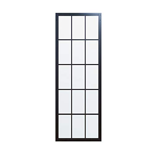 DIYHD 30 X 86.5inch Steel Framed Slab Interior Clear Tempered Glass Sliding Barn Panel, 30X86.5 in, TSD01 Door