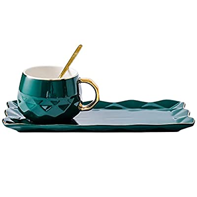 Moritic ceramic coffee cup. Exquisite coffee cup. With spoon and European style tea cup and saucer set. Afternoon tea home cup, suitable for all kinds of leisure (green)