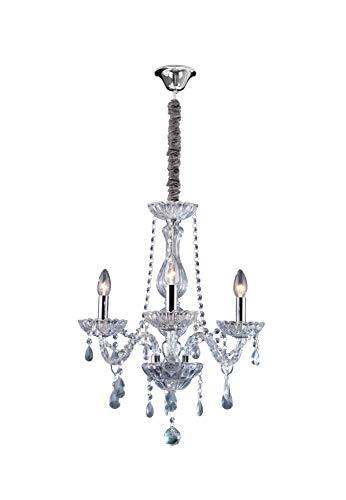 Lustre Cristal, LLUM Bronzearte, 30775, 126W, Transparente, 3 Luzes