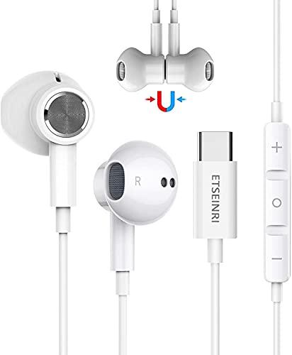 USB C Kopfhörer, Magnetischer USB Typ C Kopfhörer HiFi Stereo mit Mikrofon und Lautstärkeregler für Pixel 5/4/3/2, S,amsung S20 S21 Note 10, H,uawei P30 Pro Mate 20 Pro und Pad Pro