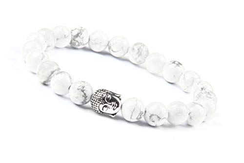 Good.Designs ® Buddhismus Perlenarmband aus echten Natursteinen mit Buddhakopf (Weißer Howlith) Buddhismusarmkette Energiearmkette howlithperlen howlitharmband Damenarmband Herrenarmband