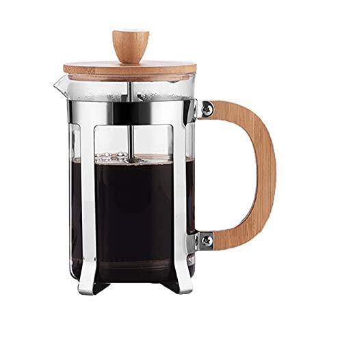 Prensas de filtro resistente al calor de café Prensas de cafetera Potillas de vidrio Hollow Coffee Tea Tetera con mango de madera (Color : 600ml)