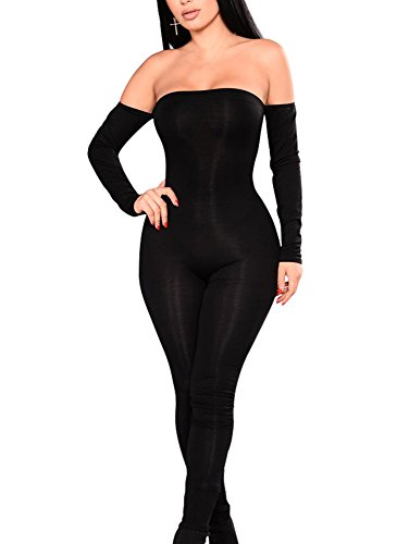 GOBLES Women Sexy Off Shoulder Lace Up Backless One Piece Jumpsuit (Black, M)