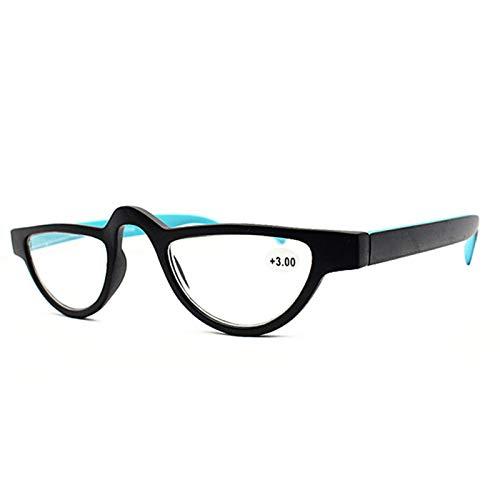 Xin Hai Yuan Gafas De Lectura De Ojo De Gato Pequeñas De Moda para Mujer, Gafas De Presbicia Ligeras para Leer, Gafas Retro Rojo Azul Naranja,Azul,+2.5
