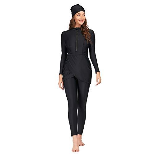 Meijunter Damen Modest Badebekleidung 3-Teiliger Muslimischer Badeanzug Islamische Konservativer Beachwear Tankini Set