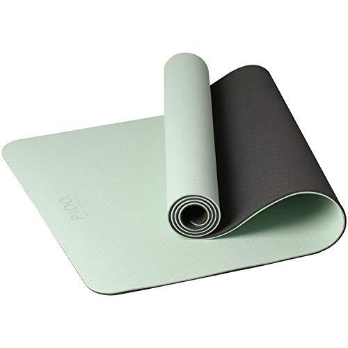 PIDO Yogamatte, leichte Reise-Yogamatte, umweltfreundliche Fitnessmatte, rutschfest mit Yoga-Gurt, Pilates- und Gymnastikmatte, 183 x 61 x 0,6 cm (Matcha grün + schwarz)