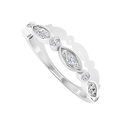 IGI Certified Diamond Apilable Band, Marquise Anillo de novia de media eternidad, IJ-SI Color Clarity Diamond Promise Ring, Anillo de cumpleaños para adolescente, 14K Oro blanco, Size:EU 57