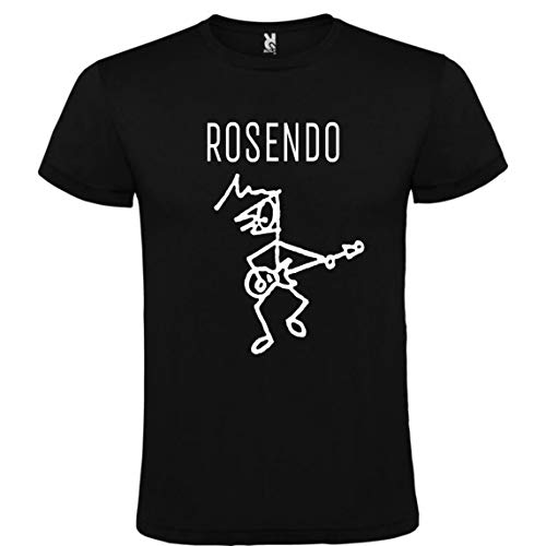 ROLY Camiseta Negra con Logotipo de Rosendo Hombre 100% Algo