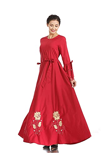 Zeroing Bordado de Moda Vestido Grande Falda Larga (Color : Rojo, Tamaño : L)