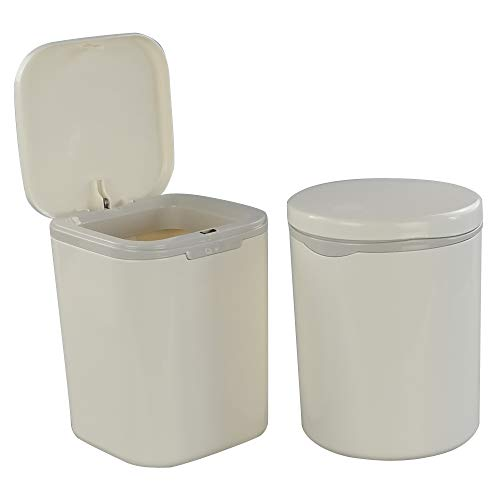 Morcte 2-Pack 0.5 Gallon Tiny Trash Can, 2 L Mini Desktop Garbage Can with Push Button Lid, White