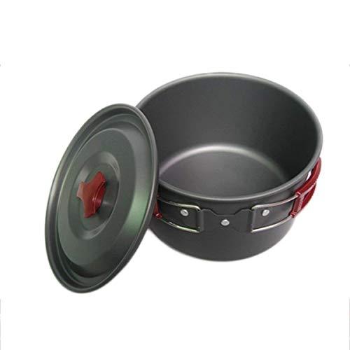 Al500-1 Utensilios de Cocina para Acampar Viajar Picnic Fuerte Senderismo Traje de Viaje Olla al Aire Libre Cocina al Aire Libre Picnic Pot-Black
