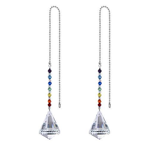 2 paquete de bola de cristal ventilador de techo cadenas de tirón cadenas decoración cono prismas chakra colgando cangrejo de sol de la ventana Ornamento del arco iris para el techo de la luz del tech
