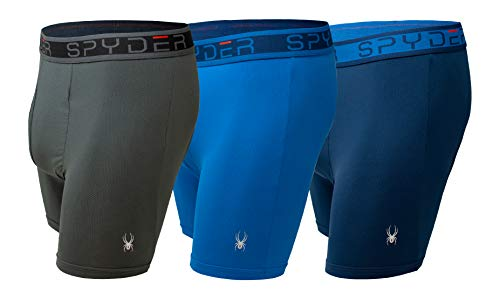 Spyder Performance Mesh Mens Boxer Briefs Sports Underwear 3 Pack/Fly Front (Large, Navy/Blue/Grey)